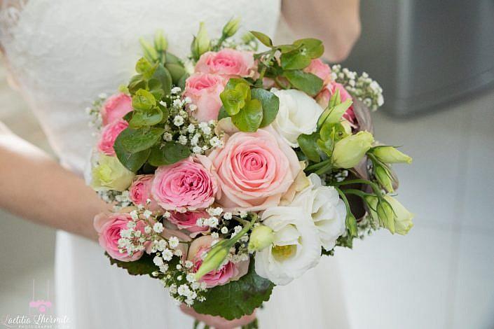 Bouquet mariée rose et blanc